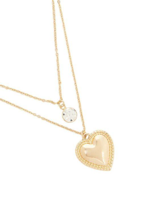 Layered Rhinestone & Heart Pendant Chain Necklace, image 3