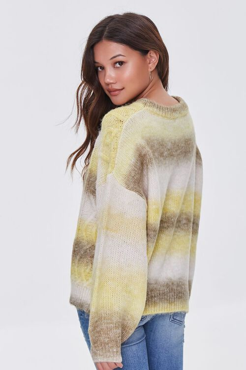 GREEN/MULTI Colorblock Cable Knit Sweater, image 2