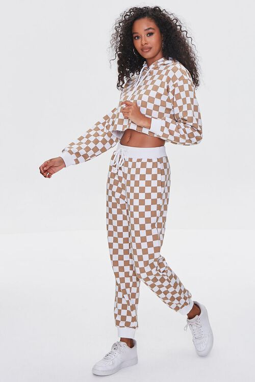TAUPE/WHITE Checkered Cropped Hoodie, image 4