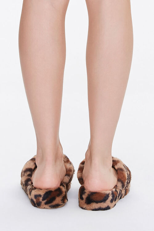 Plush Leopard Thong Slippers, image 3
