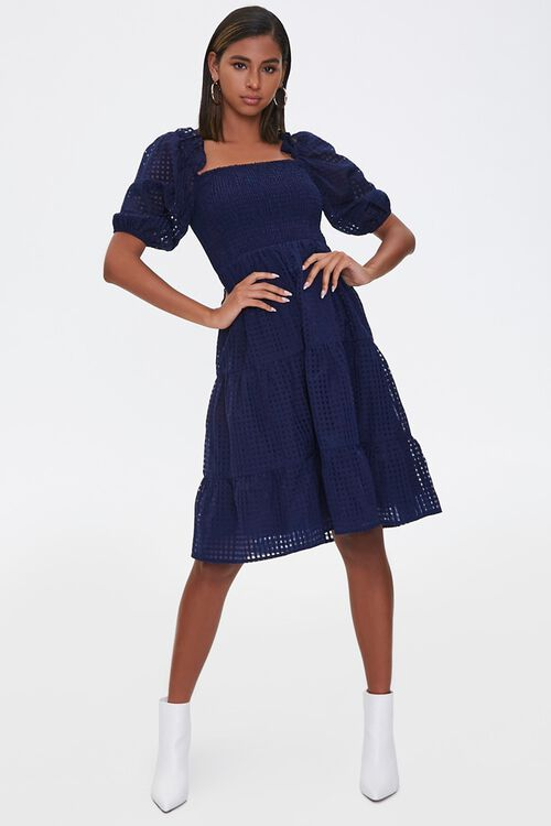 Netted Fit & Flare Dress, image 4