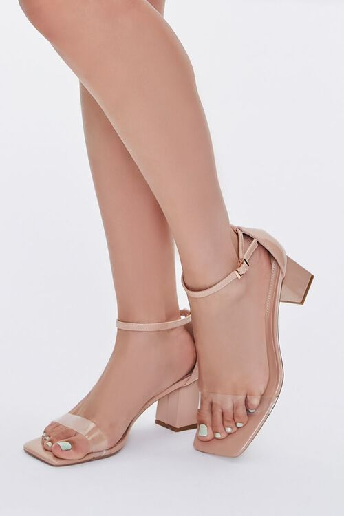 Faux Patent Leather Block Heels, image 1