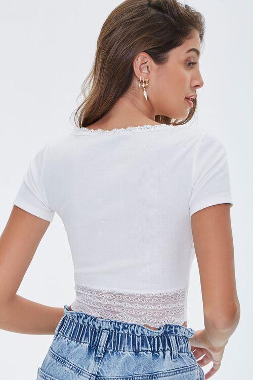 Ribbed Lace-Trim Crop Top, image 3