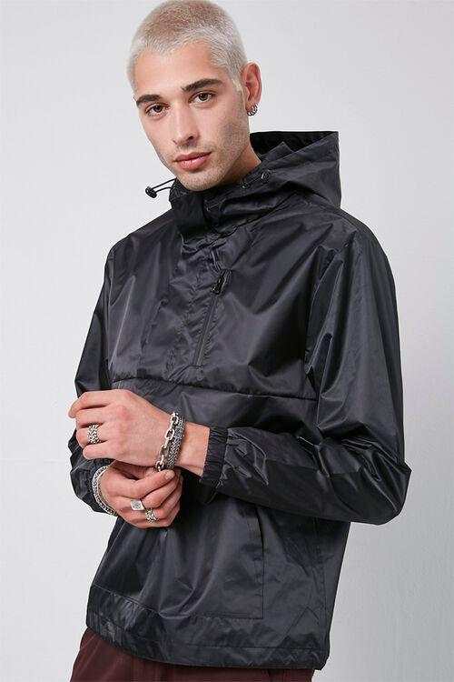 BLACK Hooded Drawstring Anorak, image 1