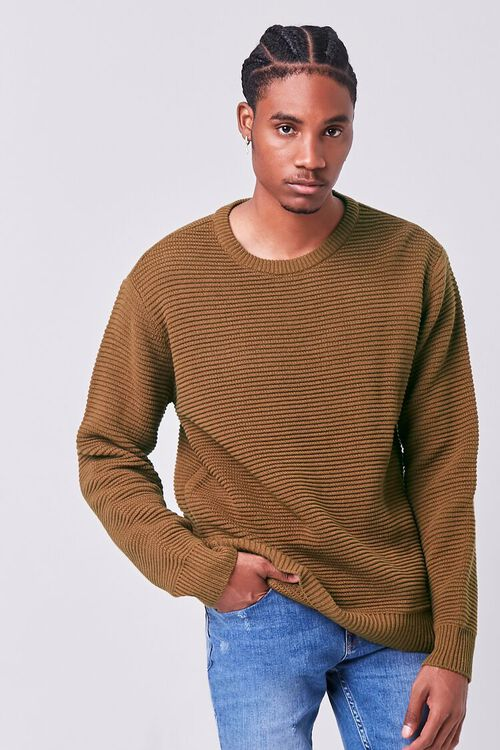 LIGHT BROWN Ribbed Crew Neck Sweater, image 1