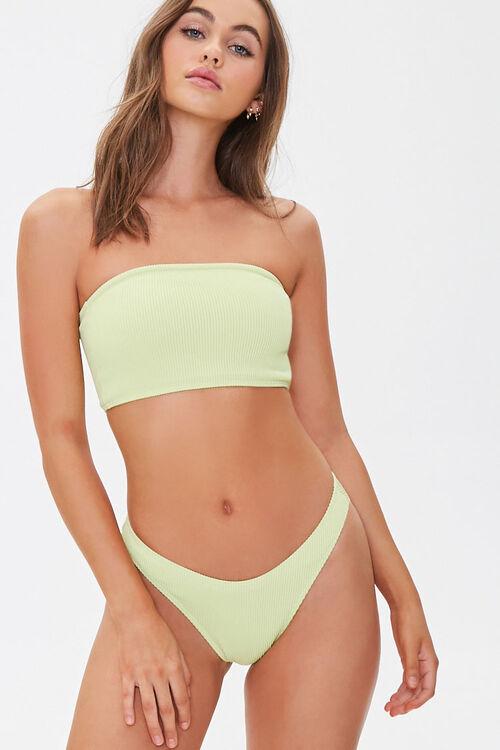 Ribbed High-Leg Bikini Bottoms, image 1