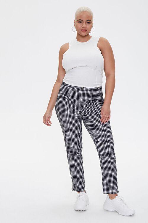 Plus Size Gingham Skinny Pants, image 1