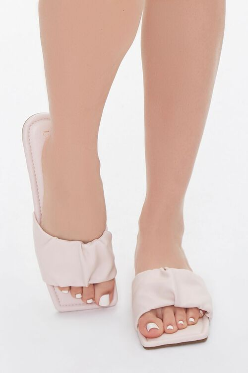 Faux Leather Ruched Sandals, image 4
