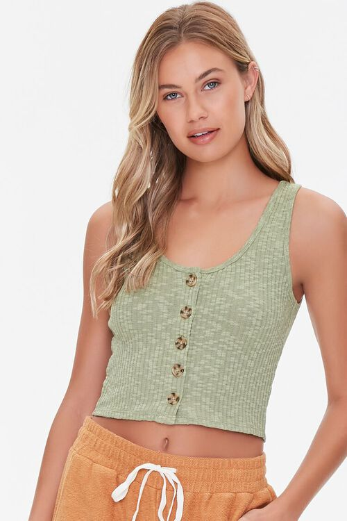 Ribbed Button-Front Tank Top, image 1