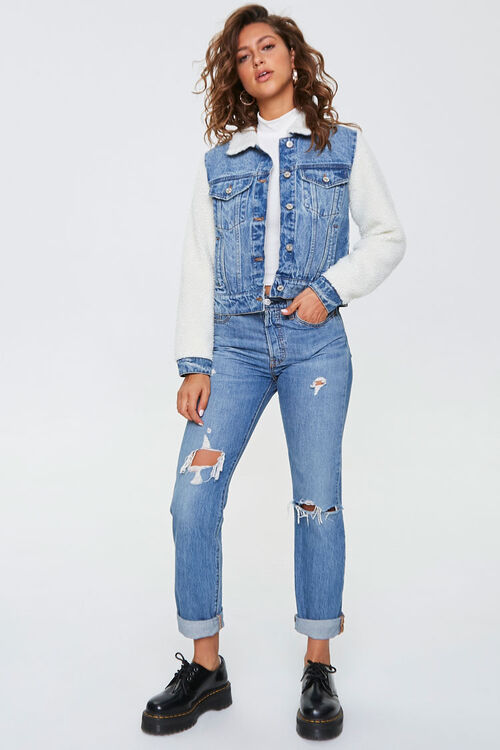 Fleece-Trim Denim Jacket, image 4