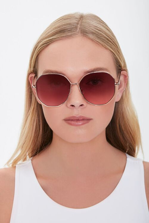 Oversized Round Metal Sunglasses, image 2