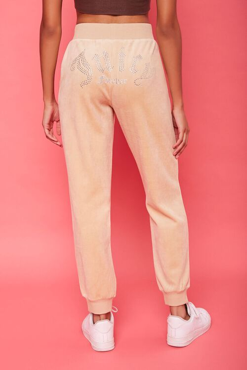 TAUPE/SILVER Rhinestone Juicy Couture Velour Joggers, image 4