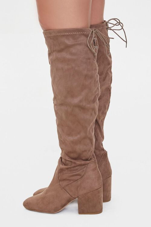 Faux Suede Self-Tie Boots (Wide), image 3