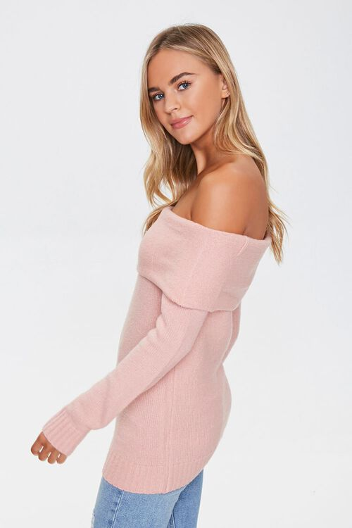 Off-the-Shoulder Ribbed Trim Sweater, image 2