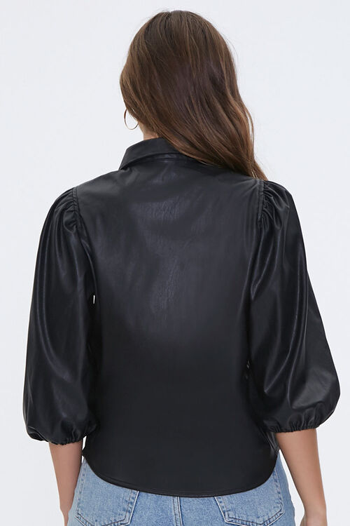 Satin Peasant-Sleeve Shirt, image 3