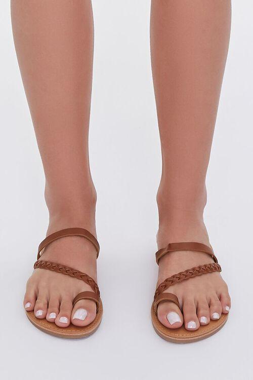 BROWN Braided Toe Loop Sandals, image 1