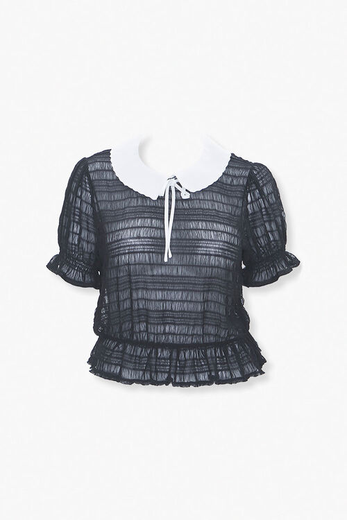 Plus Size Collared Puff Sleeve Top, image 1