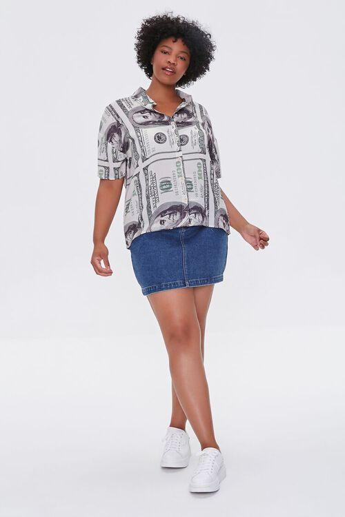 CREAM/BLACK Plus Size Hundred Dollar Bill Shirt, image 5