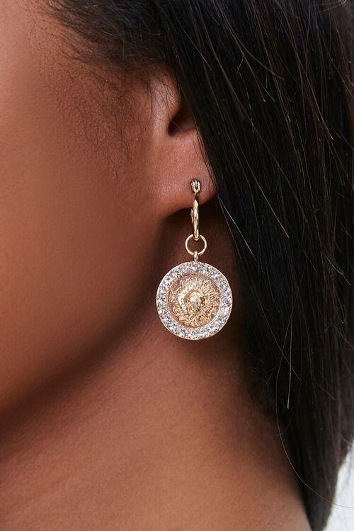 Circle Pendant Drop Hoop Earrings, image 1