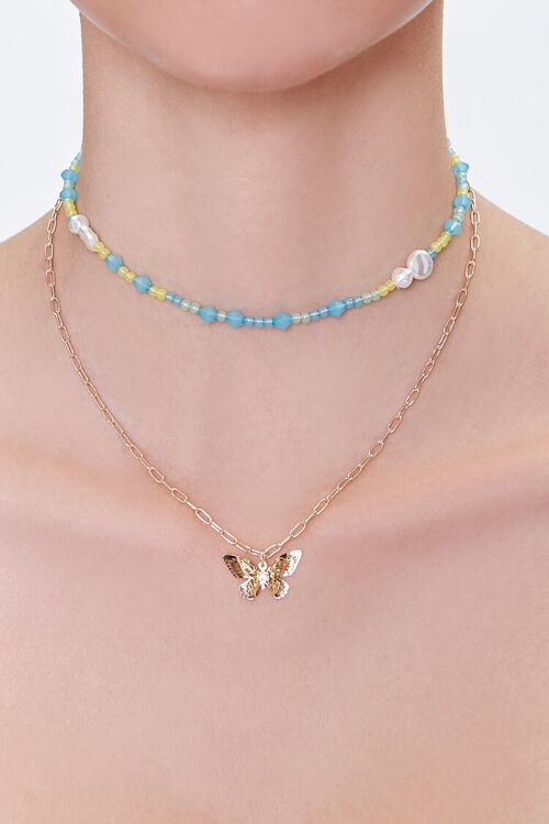 GOLD/MULTI Butterfly Beaded Layered Necklace, image 1