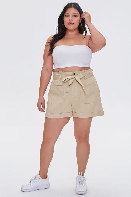 Plus Size Sash-Belt Cuffed Shorts, image 5