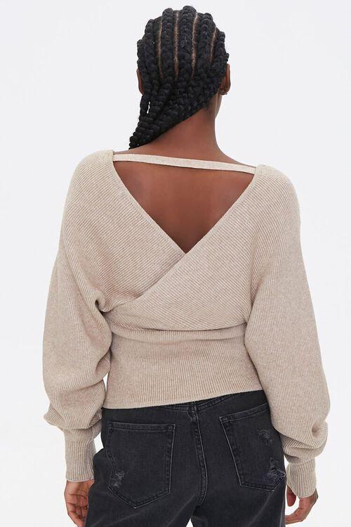 Ribbed Surplice Batwing Sweater, image 3