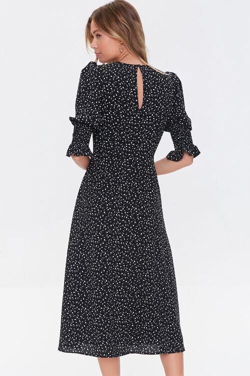 BLACK/CREAM Recycled Leaf Print Slit Dress, image 3