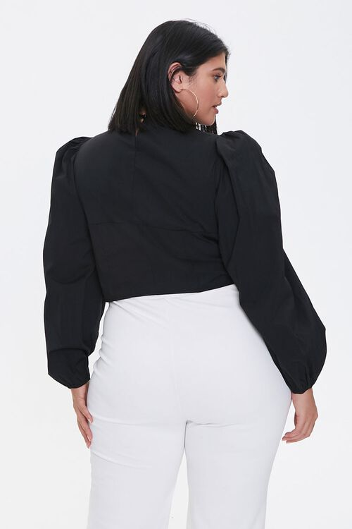 Plus Size Faux Pearl Knotted Crop Top, image 3