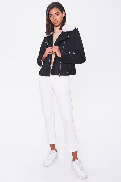 Faux Suede & Faux Fur Collar Moto Jacket, image 4