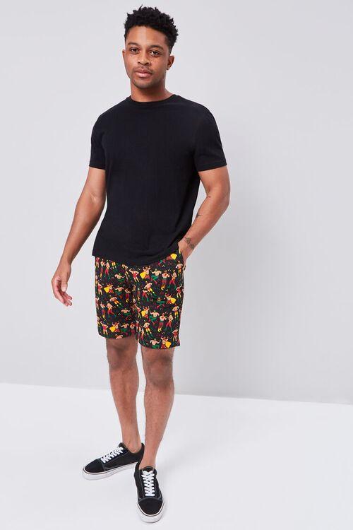 BLACK/MULTI Luchador Print Buttoned Shorts, image 5
