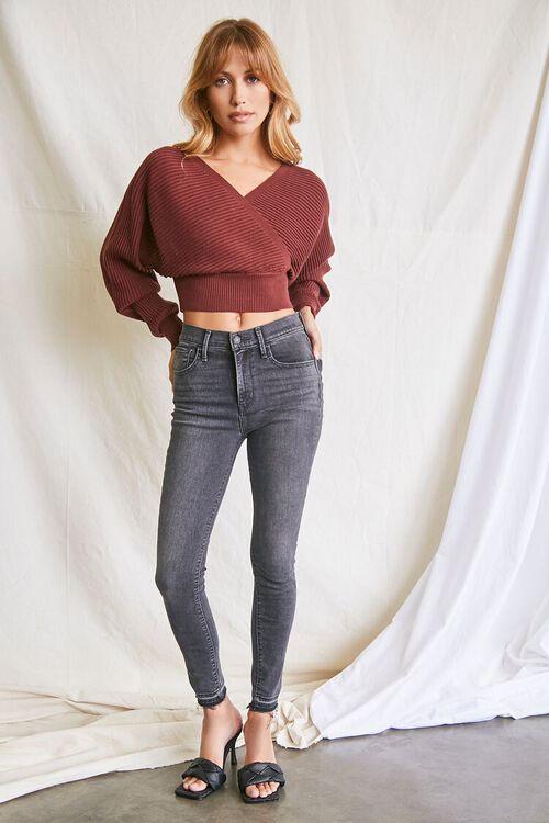 BROWN Ribbed Surplice Sweater, image 4