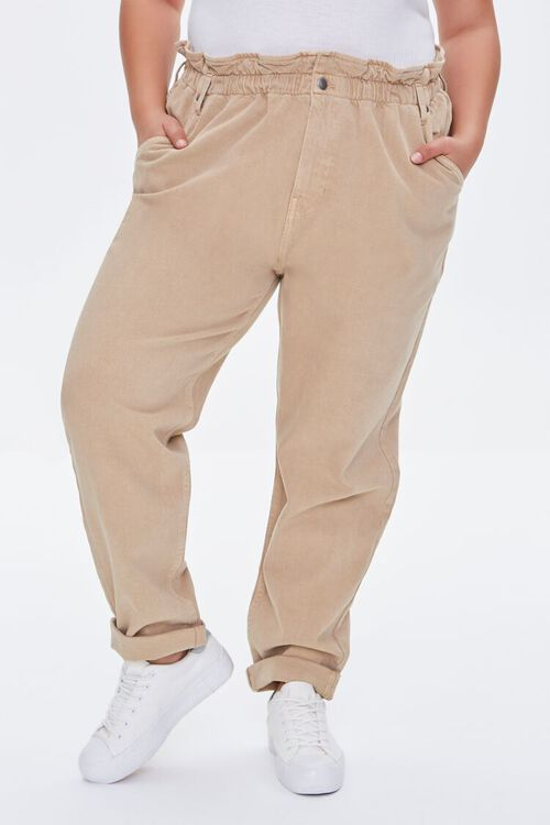 Plus Size High-Rise Paperbag Jeans, image 2