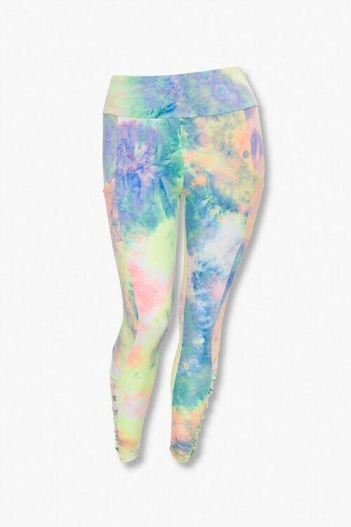 PINK/MULTI Plus Size Tie-Dye Caged Leggings, image 3