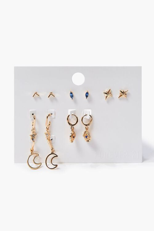 GOLD Moon Charm Hoop & Stud Earring Set, image 2