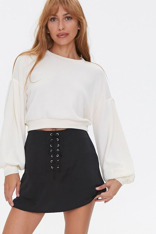 Lace-Up Satin Mini Skirt, image 1