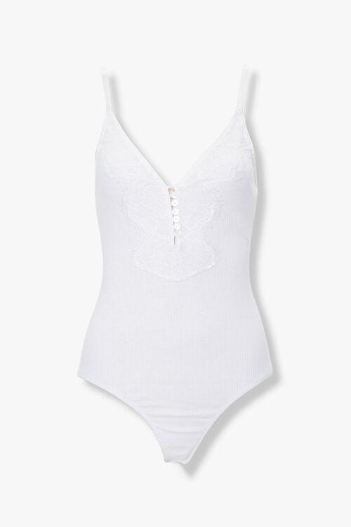 Ribbed Eyelash Lace Bodysuit, image 1