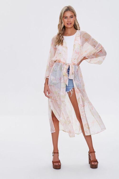 Tropical Floral Print Kimono, image 1