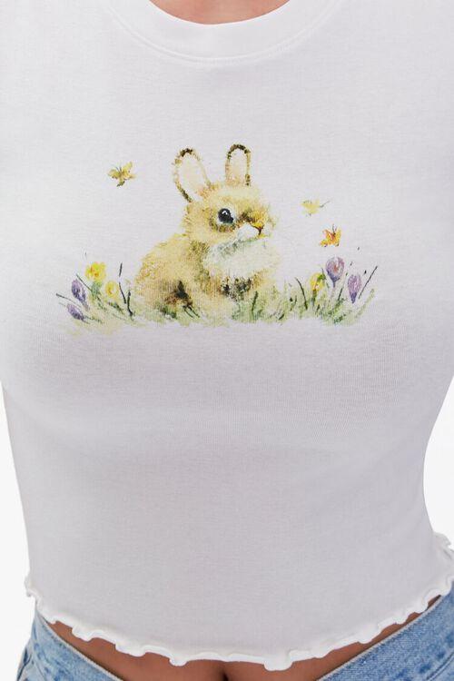 WHITE/MULTI Bunny Graphic Crop Top, image 5