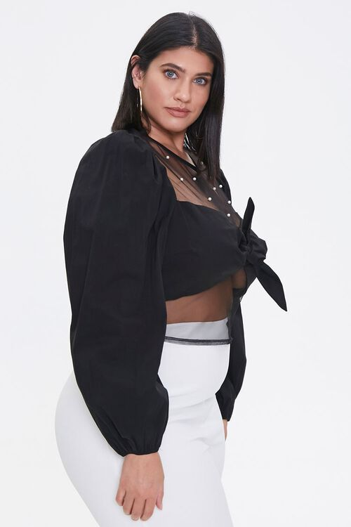 Plus Size Faux Pearl Knotted Crop Top, image 2