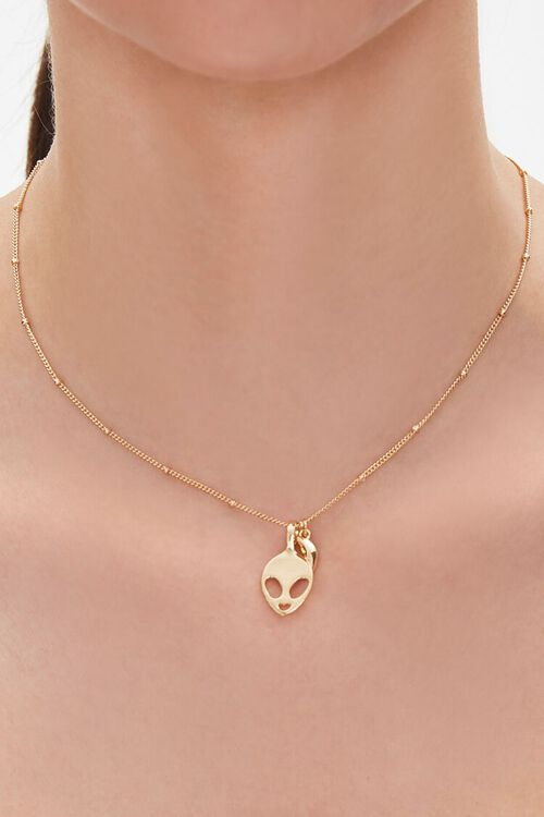 GOLD Upcycled Alien Pendant Necklace, image 1