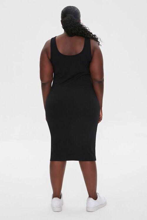 BLACK Plus Size Ribbed Tank Dress, image 4