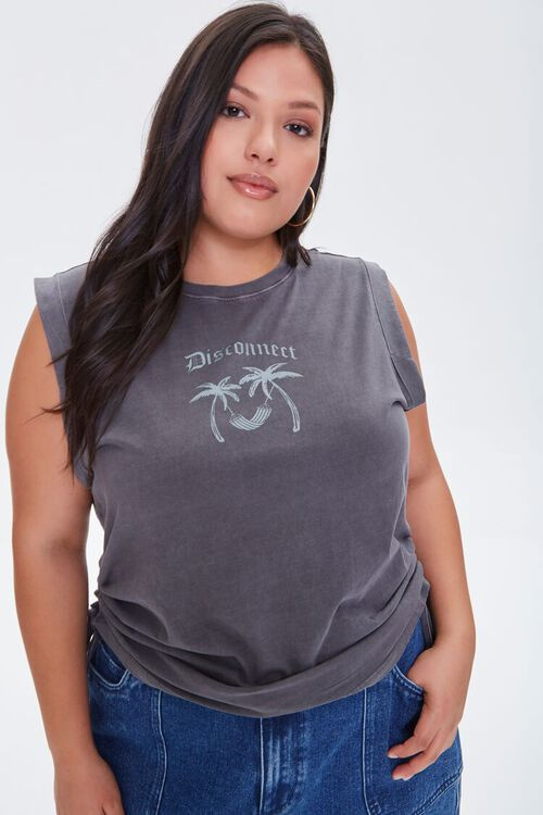 Plus Size Disconnect Muscle Tee, image 1