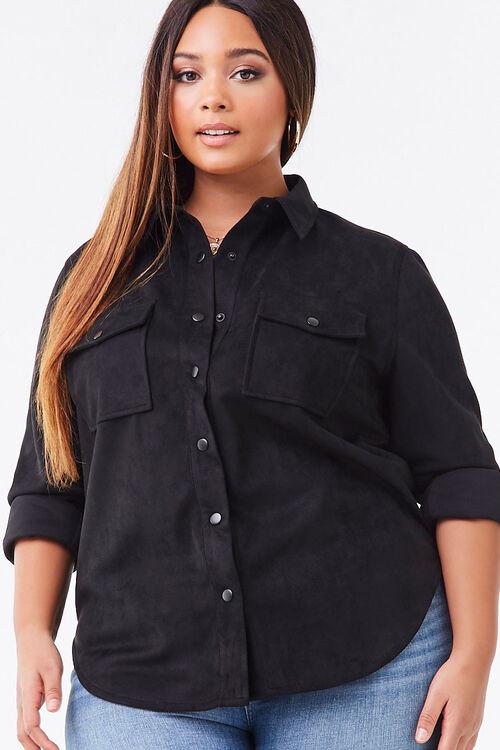 Plus Size Faux Suede Jacket, image 1
