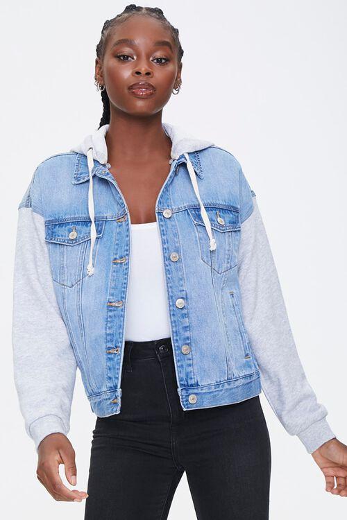 Hooded Denim Combo Jacket, image 1
