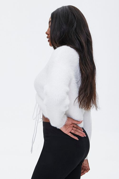 Fuzzy Ruched Drawstring Sweater, image 2