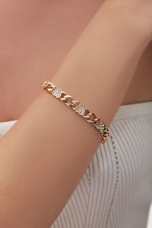 Rhinestone Heart Charm Bracelet, image 1