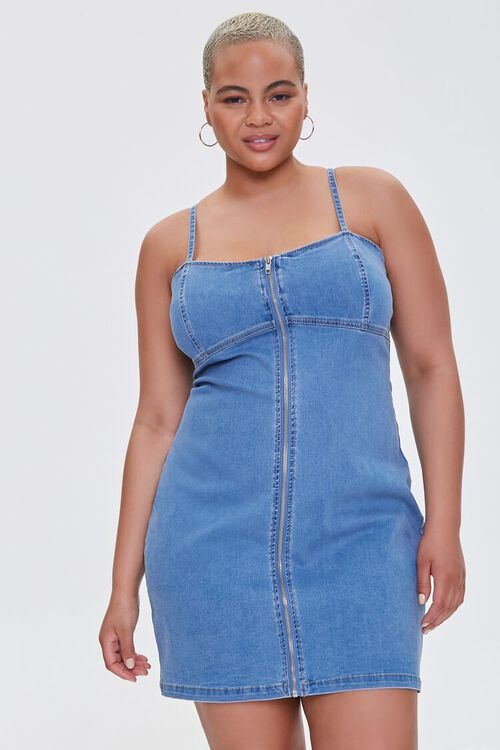 Plus Size Denim Cami Dress, image 1