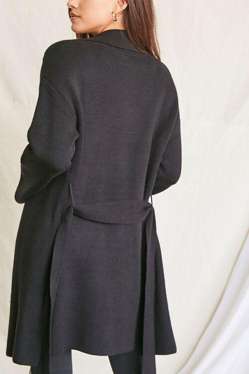 BLACK Belted Longline Cardigan Sweater, image 3