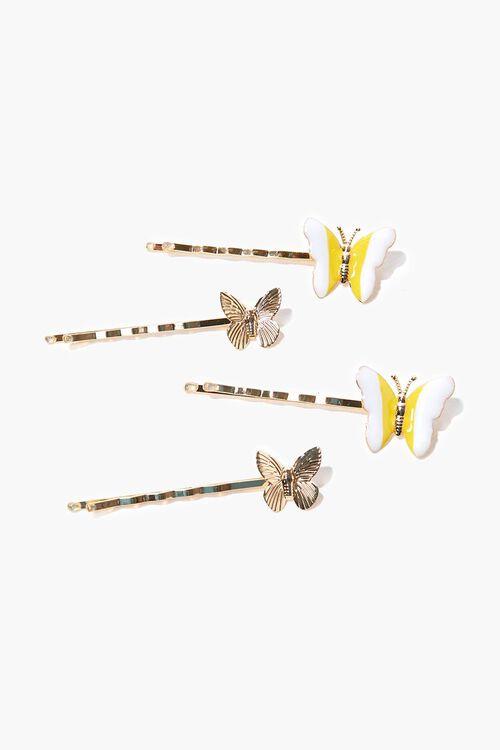 YELLOW/MULTI Butterfly Bobby Pin Set, image 1