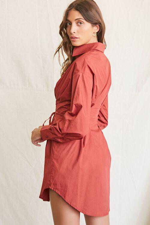 BROWN Lace-Up Shirt Dress, image 2